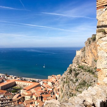 La Roca and Temple of Diana, view of Cefalu, Sicily