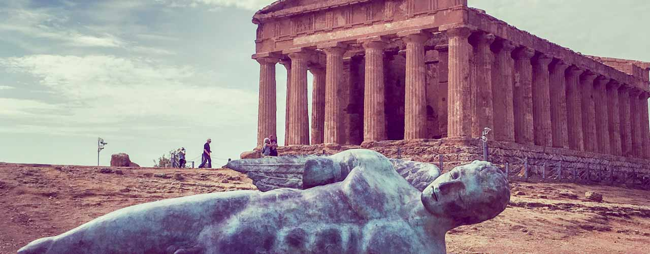Greek Temple of Concordia, Icarus statue, Valley of the Temples,Sicily