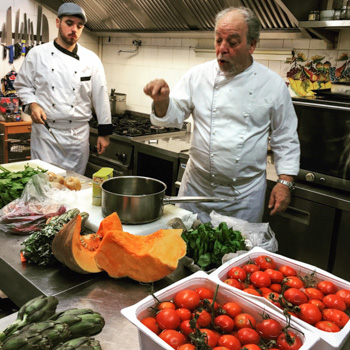 Chef Mimmo of Osteria Bacchus teaching Sicilian Cooking