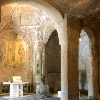 Church cave paintings  in Matera, Italy
